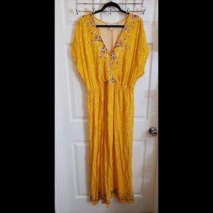 Mustard Printed Short Sleeve Maxi Dress Size 2x